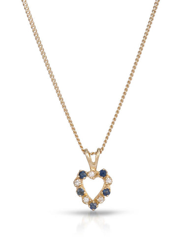 MAGNOLIA 0.18 CTW SI1-SI2 Round Blue Sapphire 14K Gold Heart Ladies Necklace