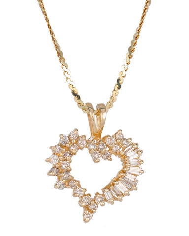 WHITEHALL 1.00 CTW H-I VS2-SI2 Baguette Diamonds 14K Gold Heart Ladies Necklace
