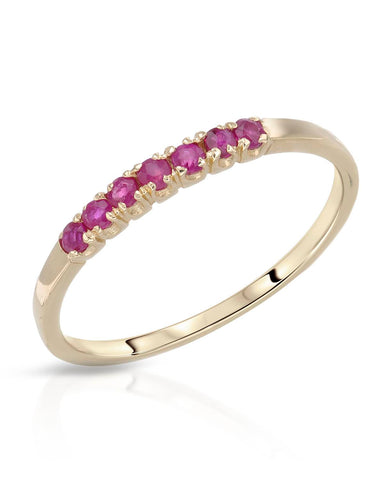 0.35 CTW Round Purple-Red Ruby 14K Gold Ladies Ring Size 8.5 Weight 1.5g.