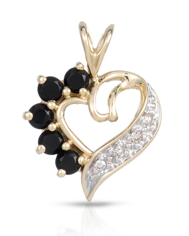 MAGNOLIA Accent Round Black Onyx Gold Heart Ladies Pendant Length 18 mm