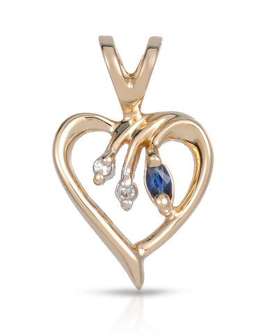 MAGNOLIA Accent Marquise Blue Sapphire 14K Gold Heart Ladies Pendant