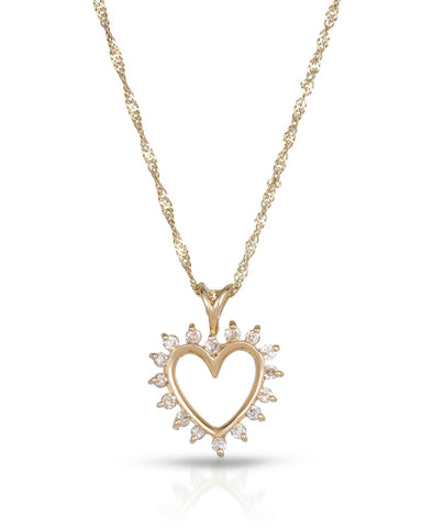 LUNDSTROM 0.17 CTW I-J I1 Round Diamonds 14K Gold Heart Ladies Necklace
