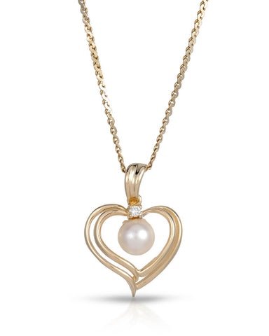 MAGNOLIA VS2 Round White Freshwater Pearl 14K Gold Heart Ladies Necklace