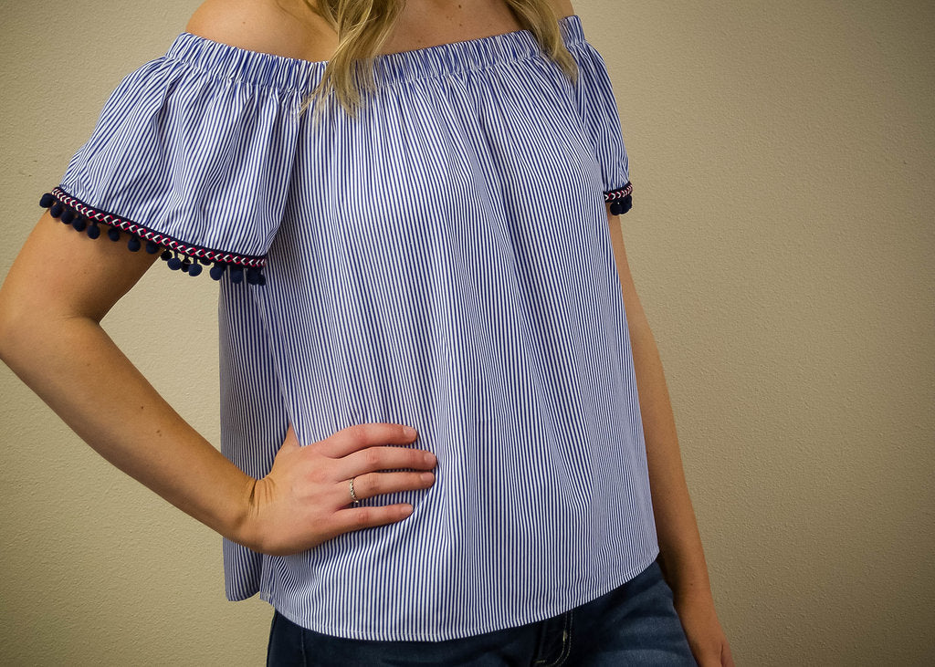 Off Shoulder Pom Pom Sleeve