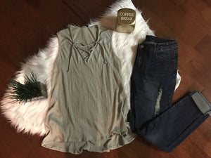 Crisscross Sage Green Top