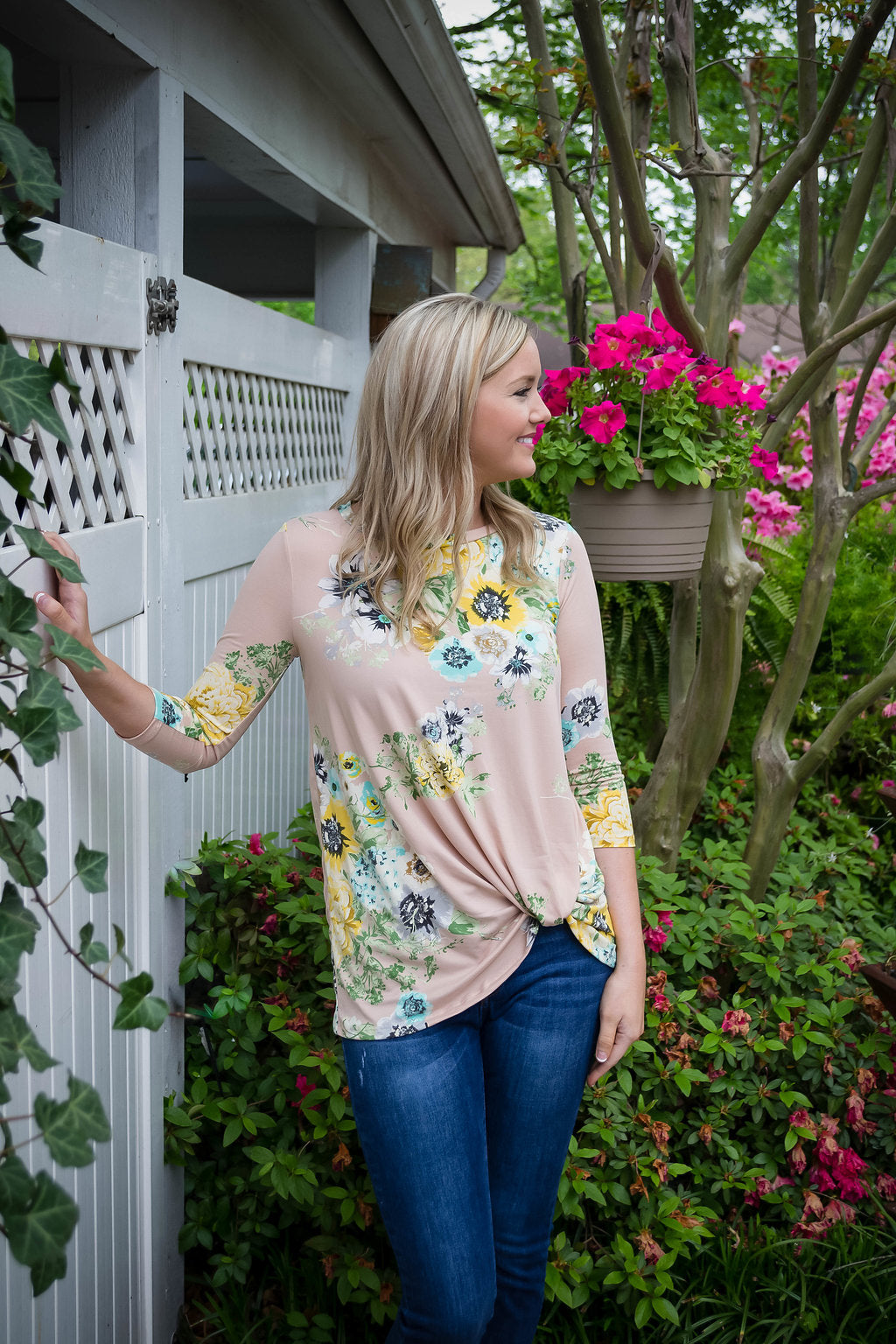3/4 Sleeve Floral Tunic Top