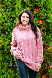 Over-sized Cable Knit Chenille Turtle Neck Sweater