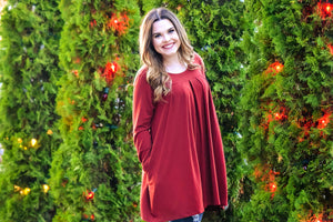 Plus Size - Long Sleeve Pleated Top