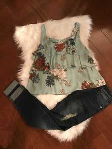 Floral Scoop Top with Triple Ruffle