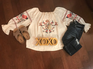 Embroidered Cream Top