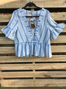 Striped Ruffled Lace Up Top