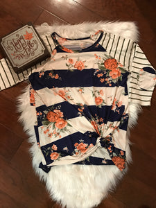 3/4 Raglan Sleeve Floral and Stripe Top w/Elbow Patch Detail