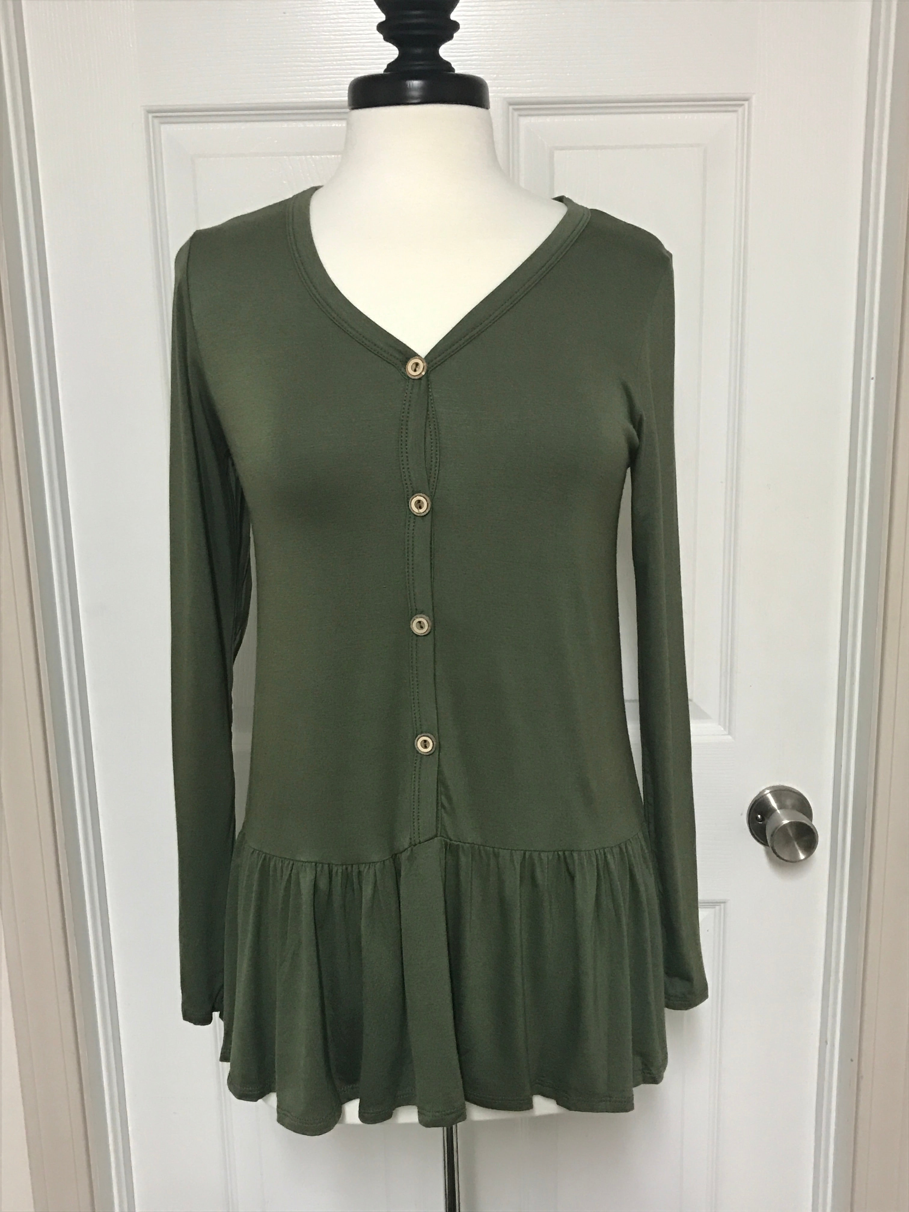 Long Sleeve Button Down Knit Tunic Top With Ruffle Hem