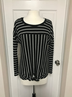 Stripe Waffle Fabric Top With Front Tie