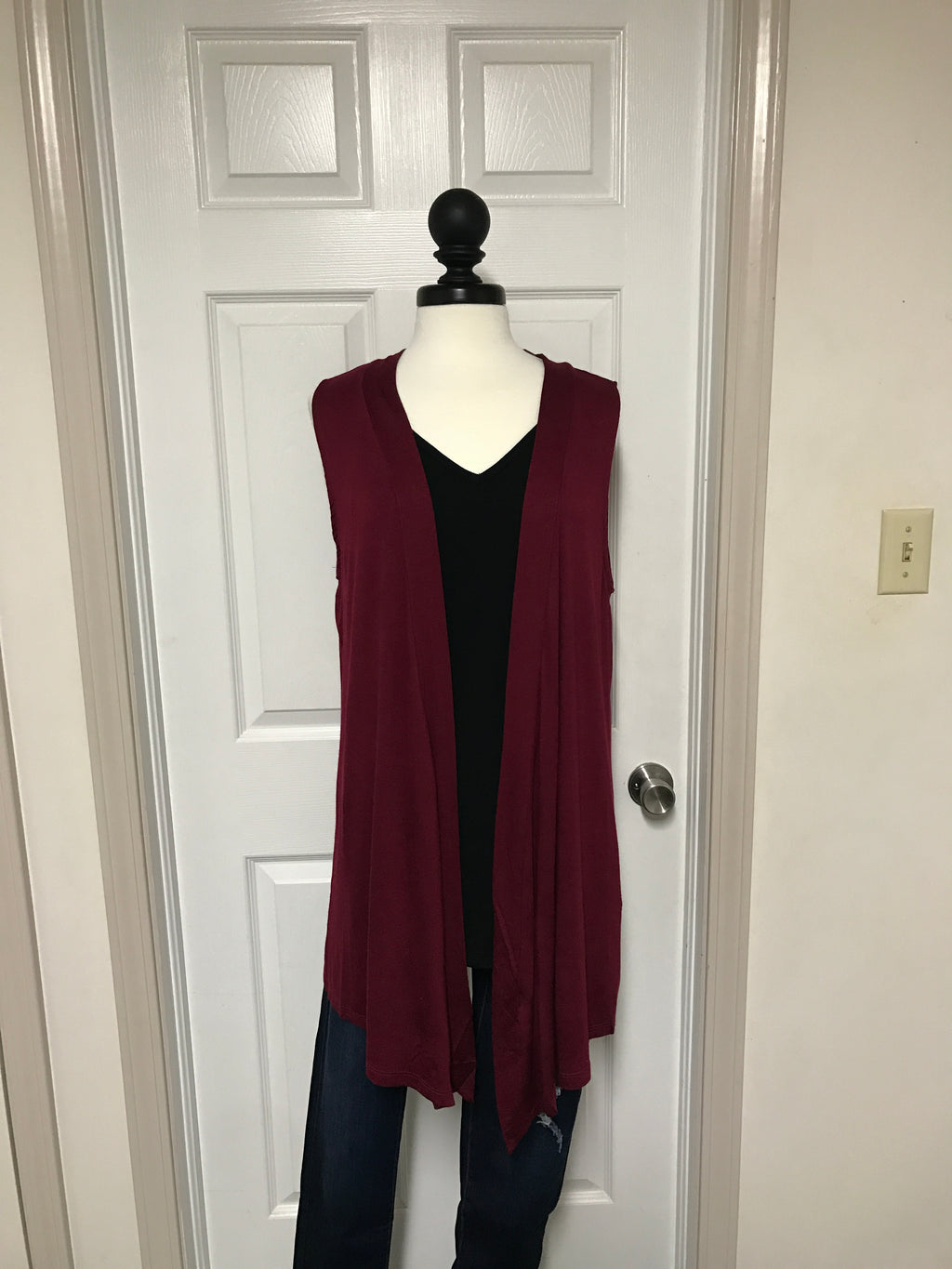 Open Front Sleeveless Cardigan - Plus Size
