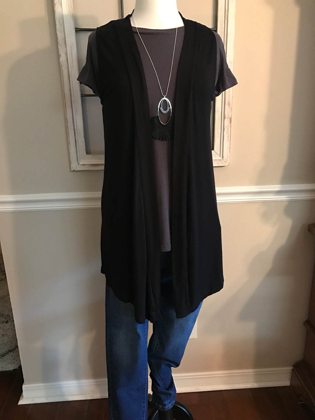 Open Front Sleeveless Cardigan