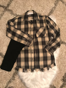 Plaid Shirt Fringe Hem