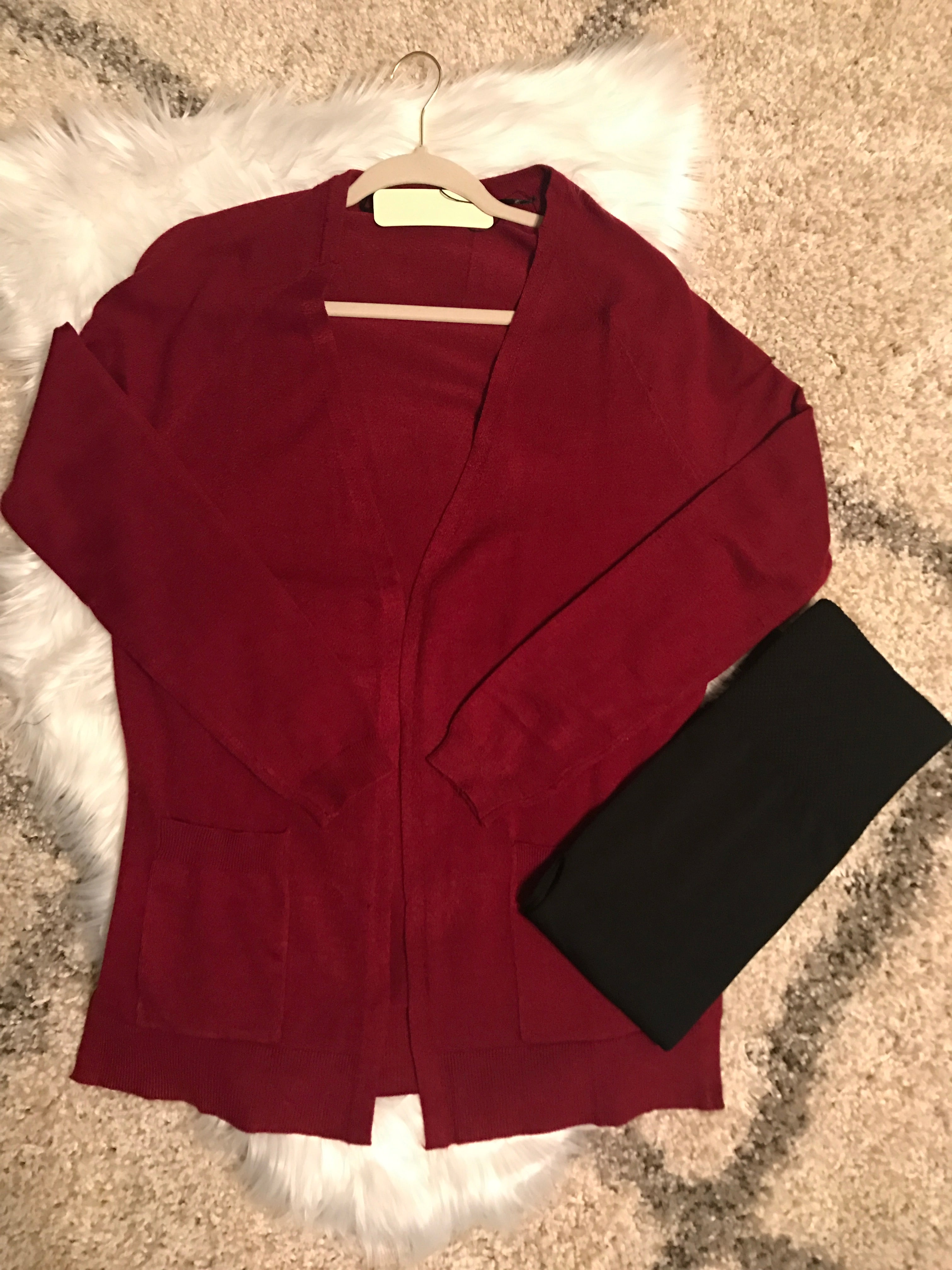 Open Front Cardigan Sweater with Pockets -  Ruby