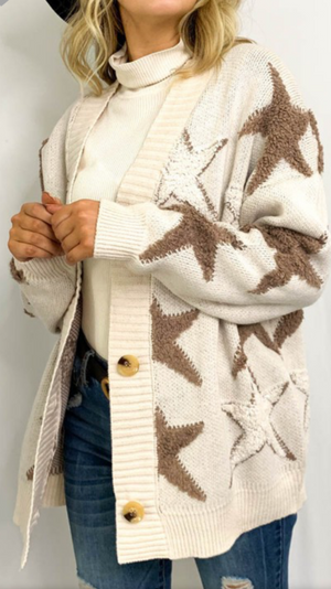 Star printed sweater cardigan