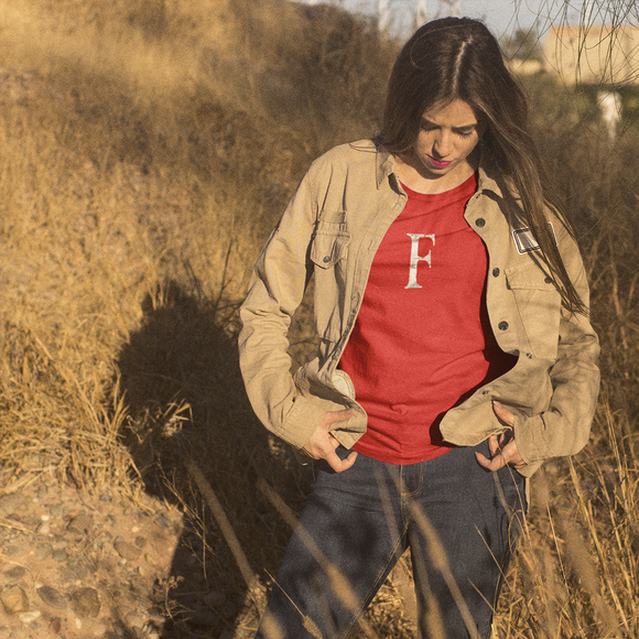 Letter F Typographic T-Shirt (F No. 8)
