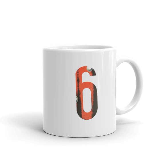 Number 6 Typographic Coffee Mug (6 No. 17)
