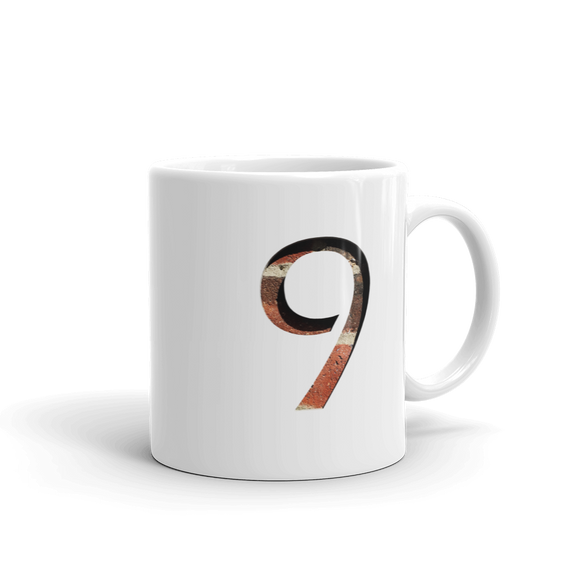Number 9 Typographic Coffee Mug (9 No. 13)