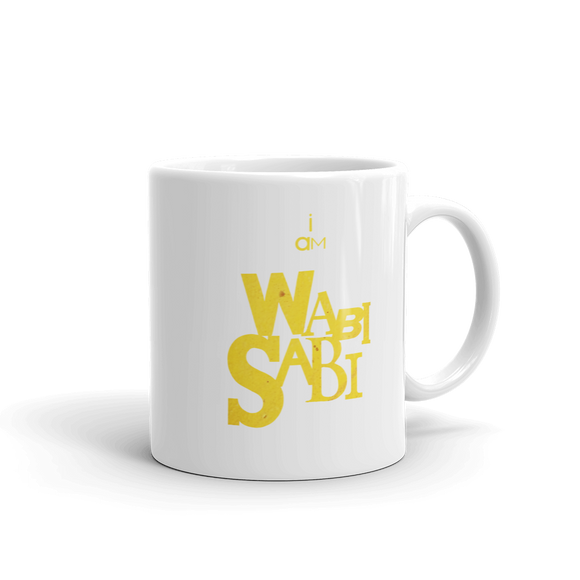 """I AM WABI-SABI"" Typographic Coffee Mug (Pulp No. 7)"
