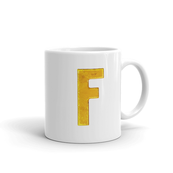 Letter F Typographic Coffee Mug (F No. 14)