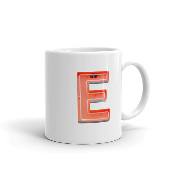 Letter E Typographic Coffee Mug (E No. 5)