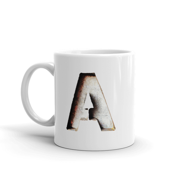 Letter A Typographic Coffee Mug (A No. 5)