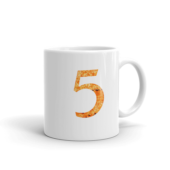 Number 5 Typographic Coffee Mug (5 No. 9)