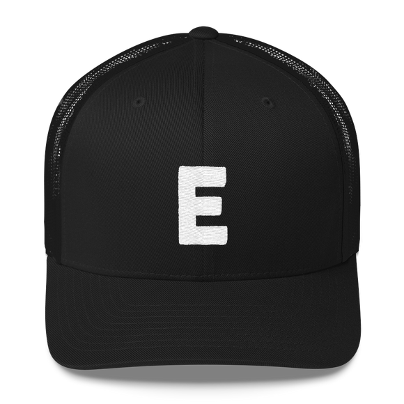 Letter E Retro Trucker Cap (E No. 5)