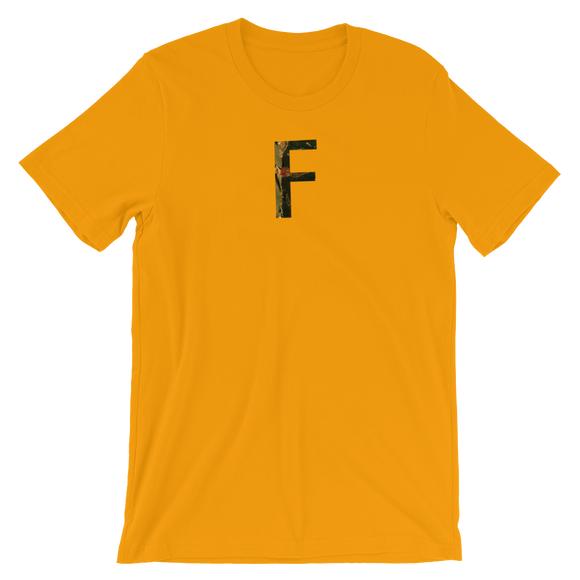 Letter F Typographic T-Shirt (F No. 5)