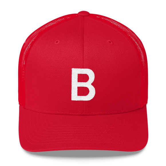 Letter B Retro Trucker Cap (B No. 17)