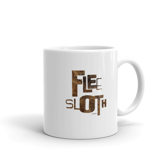"""FLEE SLOTH - Cato"" Typographic Coffee Mug (Pulp No. 9)"