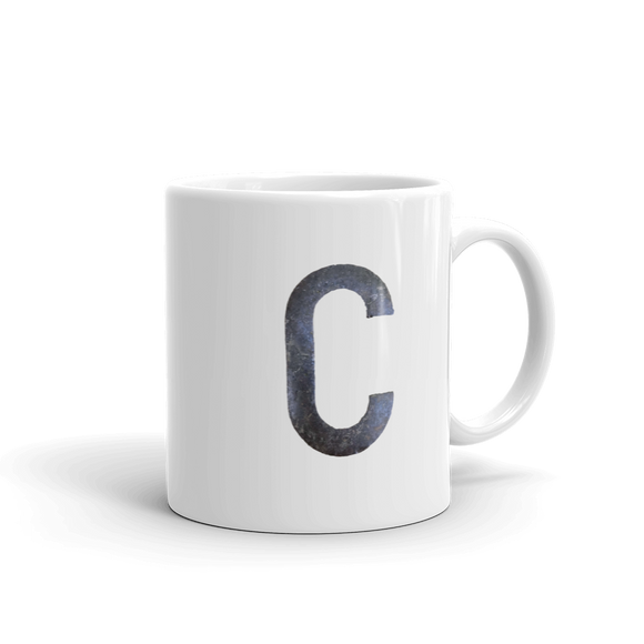 Letter C Typographic Coffee Mug (C No. 24)