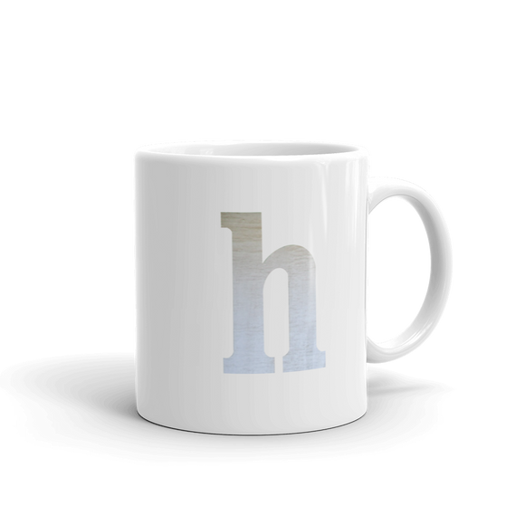 Letter H Typographic Coffee Mug (H No. 2)