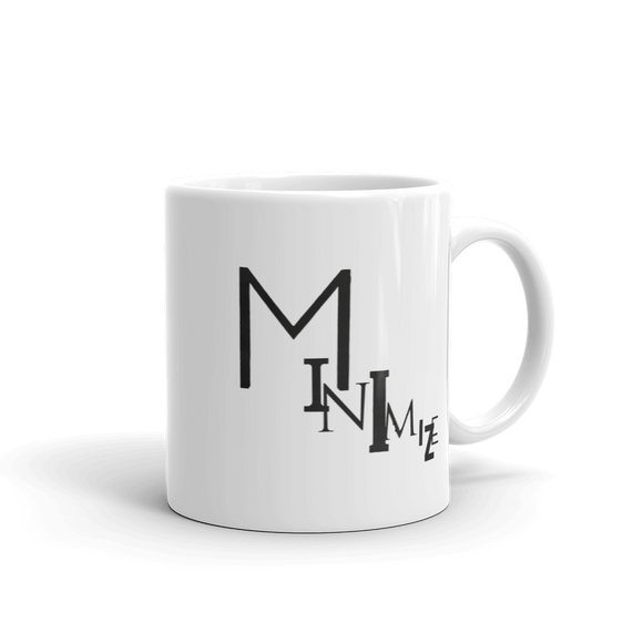 """MINIMIZE"" Typographic Coffee Mug (Pulp No. 5)"