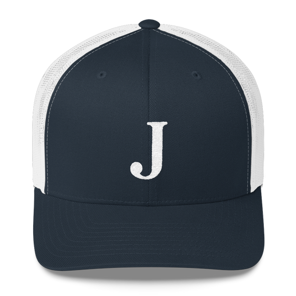 Letter J Retro Trucker Cap (J No. 6)