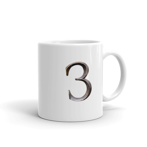 Number 3 Typographic Coffee Mug (3 No. 11)