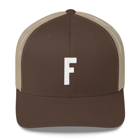 Letter F Retro Trucker Cap (F No. 14)