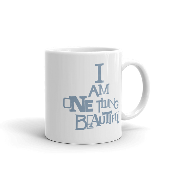 """I AM ONE THING BEAUTIFUL"" Typographic Coffee Mug (Pulp No. 1)"