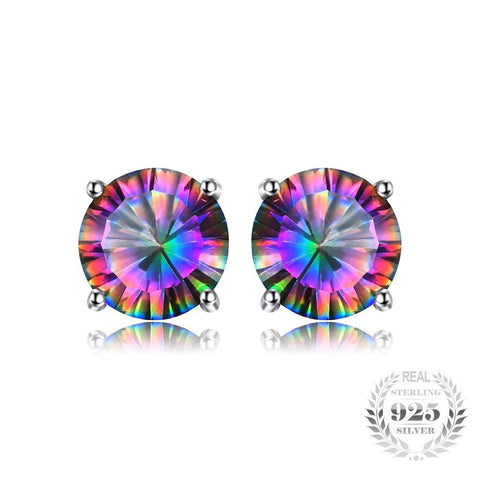 Natural Mystic Rainbow Topaz Earrings Studs