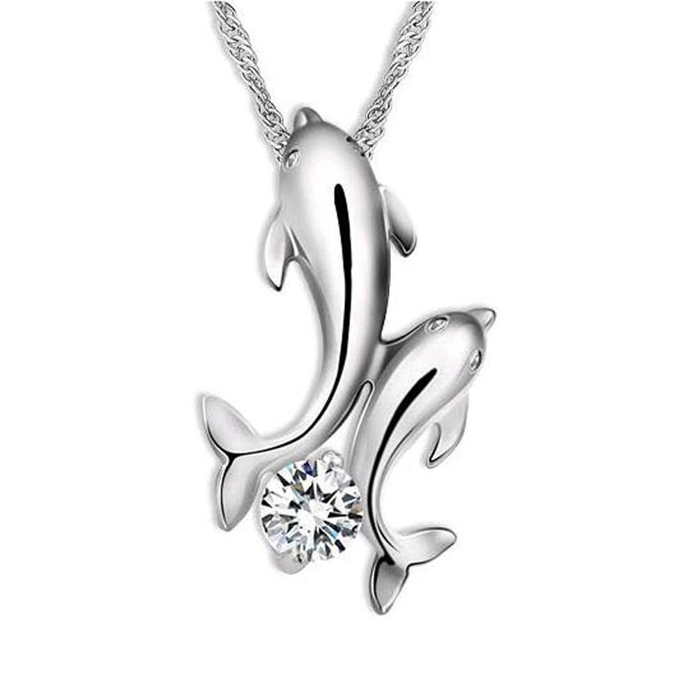 Double Dolphin Rhinestone Necklace