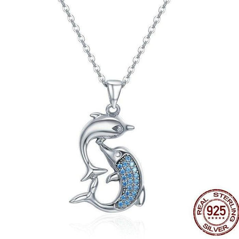 925 Sterling Silver Love Dolphins Pendant Necklace