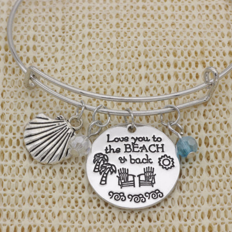 love you to the beach and back pendent bracelet