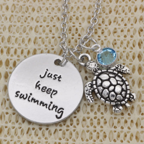 Just Keep Swimming Turtle Necklace