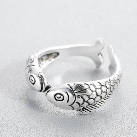 Double Fish Silver Ring