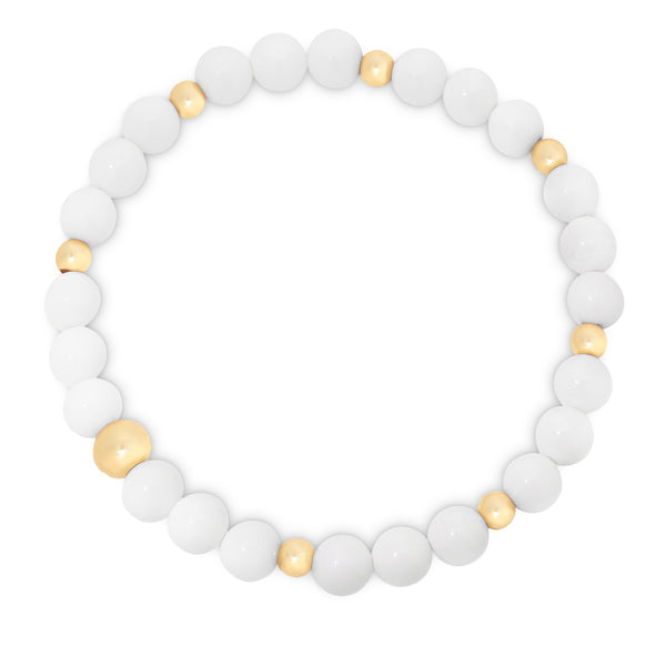 Natural White Agate Beaded Bracelet