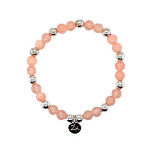 Peach Jade Beaded Bracelet